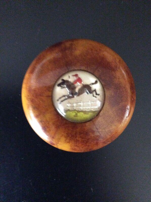 Vintage Bakelite Gear Shift Knob with Equestrian  Steeplechase Sulfide