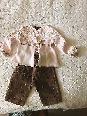 beautiful pink cardigan and matching velvet spotted trousers size 0-3 months
