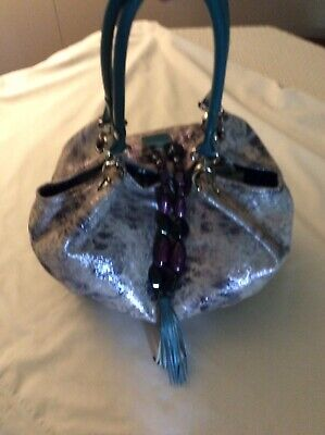 Sharif Leather Bag Beige Dark Gray Silver with Purple Bead Turquoise (Silver Turquoise Bag)