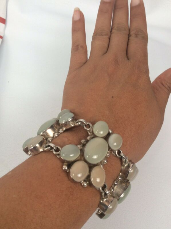 Vintage sterling Silver 925 White Stone Links Bracelet Heavy 86 G