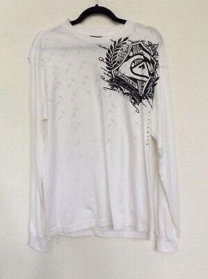 Quick Silver Long Sleeve T-Shirt Men's M White With Gray Graphic Tee Nwt