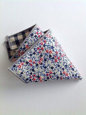 NEW Men's Pocket Square Navy Blue Tan Red Floral Checks Reversible Handkerchief - Red Handkerchief