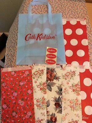 Brand New Cath Kidston Gift Wrap Set-Blue Bag, 6 X Gift Wrap Bags, 3 X Stickers