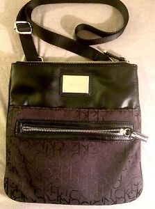 CK Black Leather & Jacquard Crossbody Bag