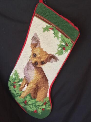 Fawn chihuahua needlepoint stocking- not a kit