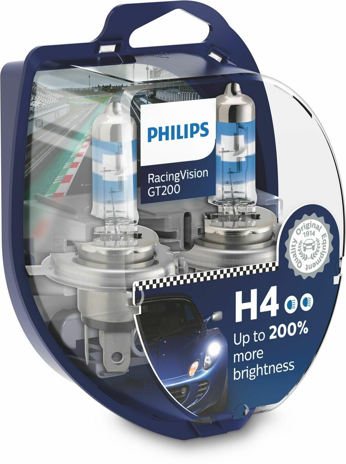 Car Parts - Philips RacingVision GT200 Car Headlight Bulbs H4 (Twin) *NEW 2020* 12342RGT200