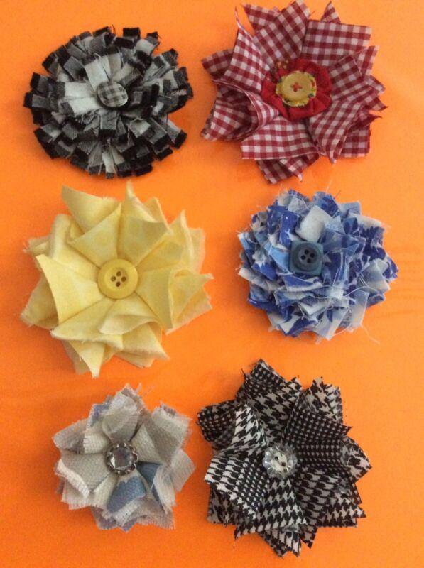 Fabric Flowers Handmade Lot of Six Embellishments for Headbands Scrapbooking
