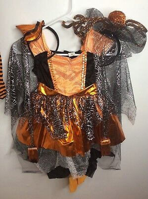 Spider Witch Orange Black Deluxe Halloween Dress Up Costume 4pc Lot Sz Small 4-5 (Orange Witch Costume)