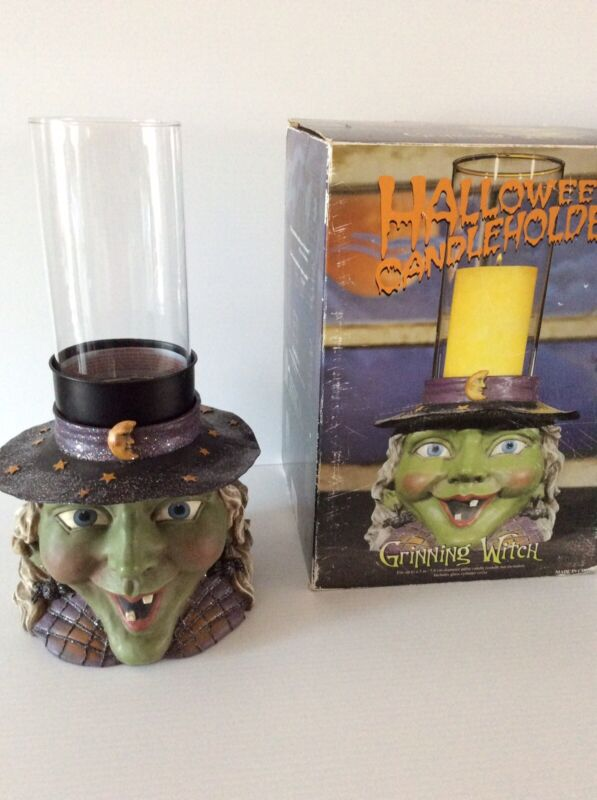 Halloween Green Grinning Witch with Hat Pillar Candle Holder Table Decoration