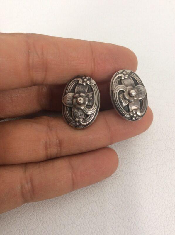 Beautiful Vtg Early Georg Jensen 830 Silver Screw On earrings No 41