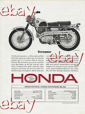 1965 Honda Scrambler CL-72 Motorcycle Ad Vintage Magazine Advertisement 65