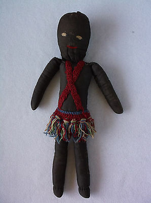 "Vintage 15"" Black Doll, Cloth Handmade Folk Art, Yarn Skirt, African"