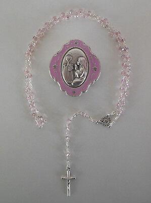 Rosenkranz Perlen rosa, mit Schatulle Kelch Kommunion Mädchen AR 1126 - 14N
