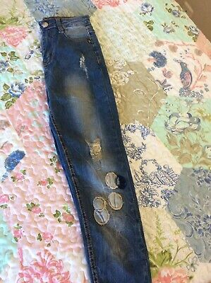 BNWT DESIGNER HOXTON SUPER SKINNY PATCH JEANS SIZE 8