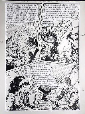 Planche originale Ce soir à Chiraz Vicomte 147 adaptation Fleuve noir Fred Noro