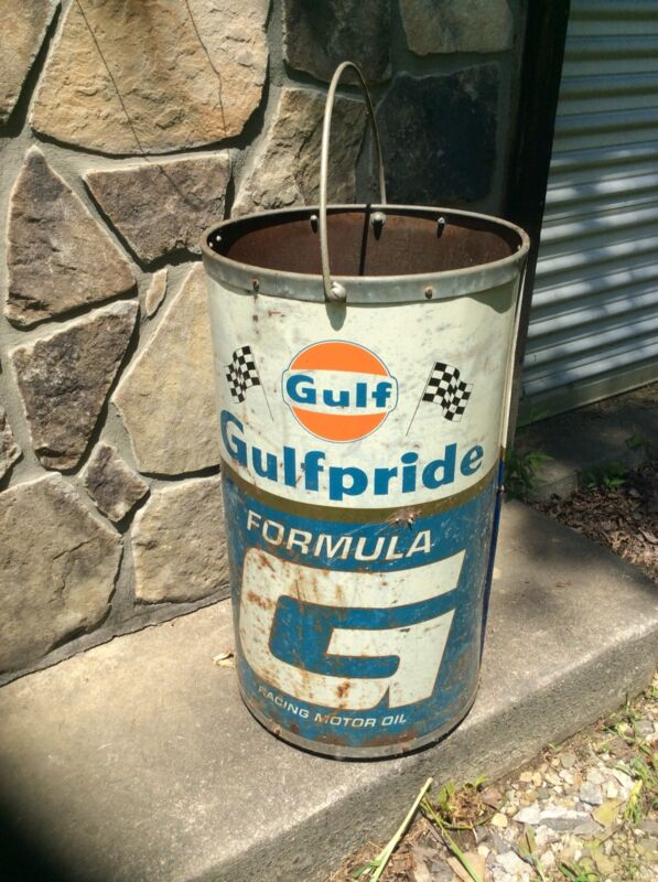 VINTAGE GULF Lubricant Barrel / Drum With Handle Gas Station