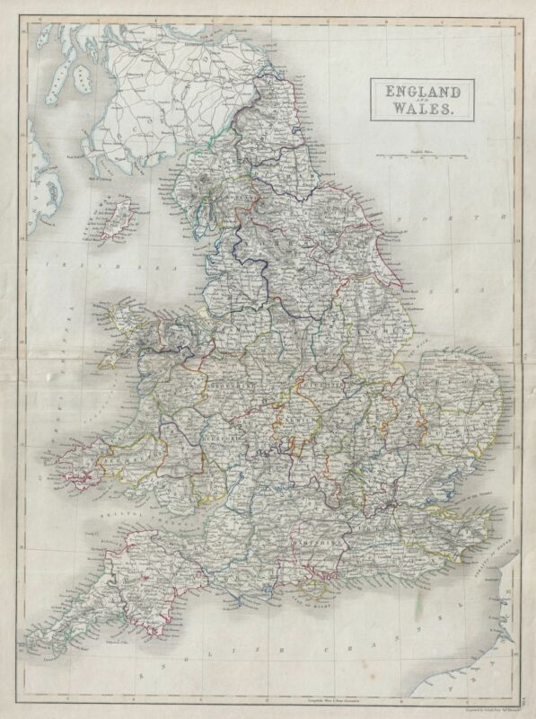 1840 Black Map of England and Wales