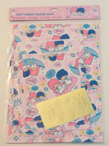 Vintage Sanrio 2001 Little Twin Stars Wrapping Paper Stickers Gift 4 Bag set NEW