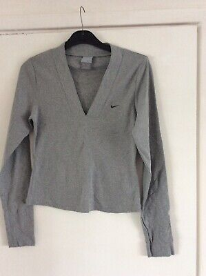 Nike Ladies Grey Long Sleeved Cropped Top Size 8/10 Excellent Condition