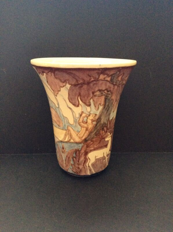 Signed Continental Faience Art Deco Vase with Nudes