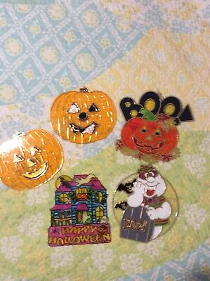 Vintage Stained Glass Sun Catcher Halloween Decoration Lot Pumpkin, House, - Halloween Stained Glass Suncatchers