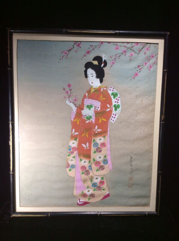 Vintage Japanese Painting On Silk Of Geisha Girl Woman Cherry Blossoms Hand