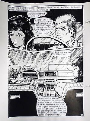Planche originale Ce soir à Chiraz Vicomte 96 adaptation Fleuve noir Fred Noro