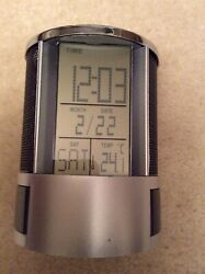 Howard Miller Desk Mate LCD Alarm Clock 645-759 Round Pencil Cup with Storage.