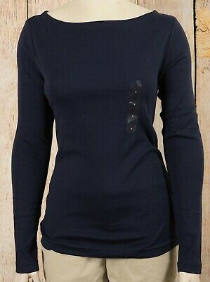 NWT Womens GAP Long Sleeve Boat Neck Favorite T-Shirt Navy Uniform - 828413