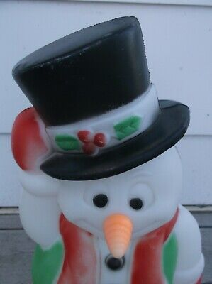 VTG BLOW MOLD FROSTY SNOWMAN TOP HAT CARROT NOSE CHRISTMAS LIGHTED DECOR