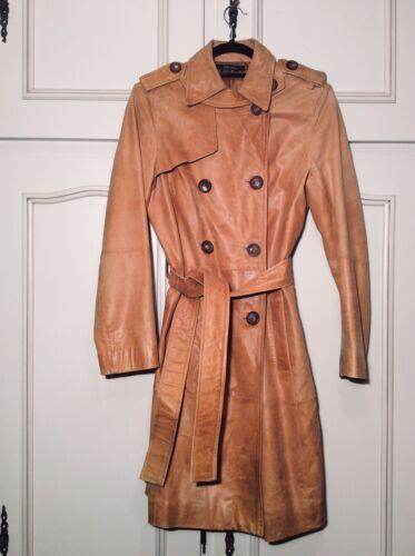 Zara manteau trench coat en cuir beige trench coat m