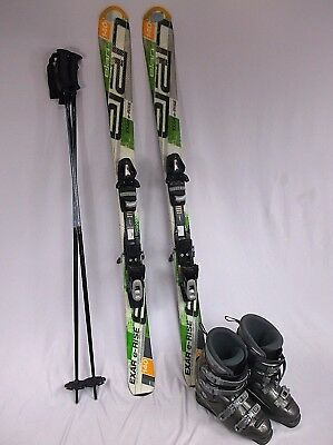 Elan Ski Package  Exar E Rise 140Cm Ski With Adjustable Bindings  Boots   Poles