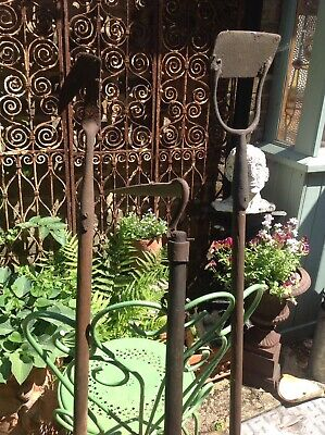 Three Old Vintage Garden Tools Hoe, Onion Swan Neck? Rustic Charm Display