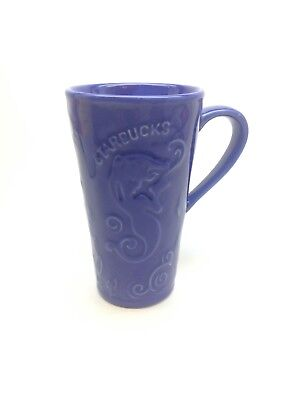 Cobalt Ceramic Mug - VINTAGE RARE STARBUCKS COBALT BLUE SIREN RAISED CERAMIC 16 OZ TUMBLER MUG W/ LID