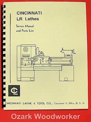 Cincinnati Lr Metal Lathes Instruction Parts Manual 0119