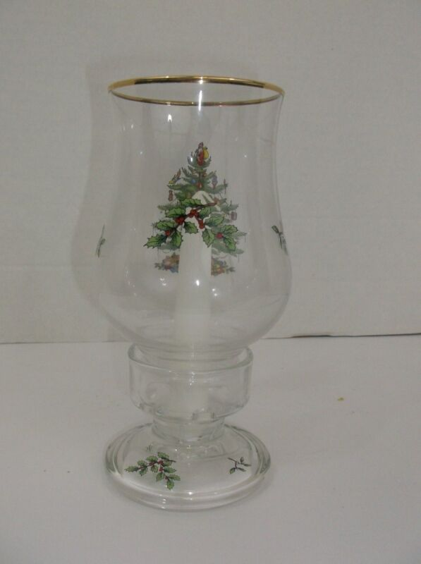 """Spode Christmas Tree Candle Lamp 8"""" tall Glass Hurricane style"""