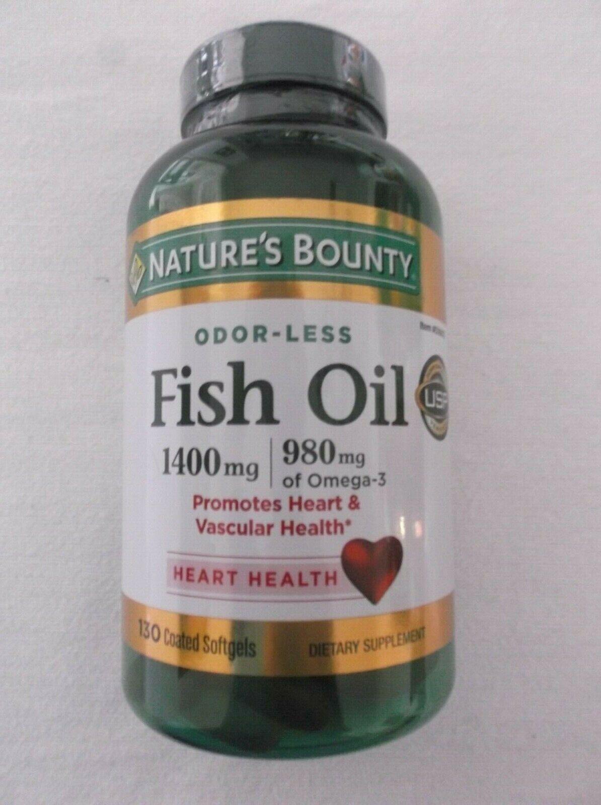 Nature's Bounty ODOR-LESS Fish Oil 1400mg, 980mg Omega-3 130
