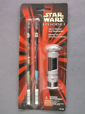 1 Star Wars Episode I Pencils and Lightsaber Sharpener in sealed package 1999