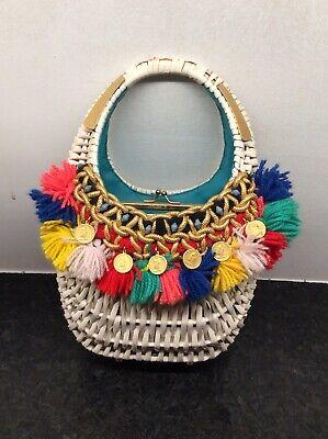Boutique Purse Handbag - RARE VTG Elizabeth Arden Boutique PURSE WICKER BASKET HANDBAG Fringe And Coins
