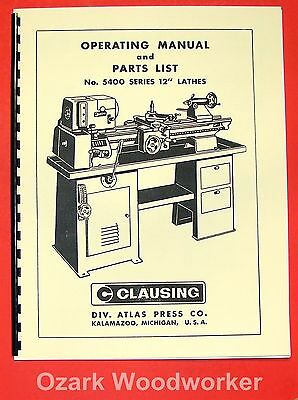 Clausing 12 5400 Series Metal Lathe Operators Parts Manual 0136