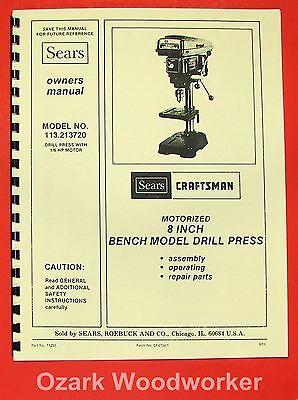 Craftsman 113.213720 8 Bench Drill Press Instructions Parts Manual 0883
