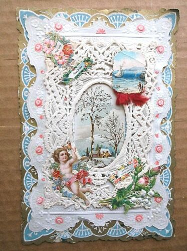 lot x 4 VICTORIAN valentines LACE 3D EMBOSSED FOLDING