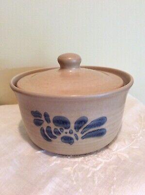 Pfaltzgraff FOLK ART Sugar Bowl, Candy Dish - Tan Blue, Lid, Diameter 5.5in, Mint