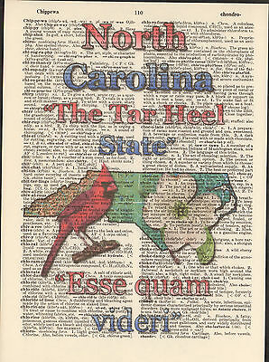 North Carolina State Map Symbols Altered Art Print Upcycled Vintage - North Carolina State Symbols