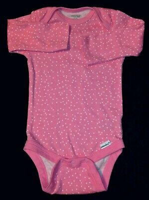 Baby girl 6-9 months Pink with shallow white dot long sleeve bodysiut.