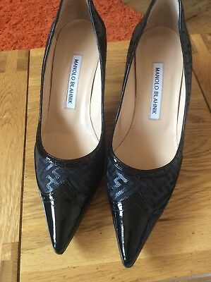 Manolo Blahnik Black Patent Pointed Toe Low Heel Court Shoes. Size 37.