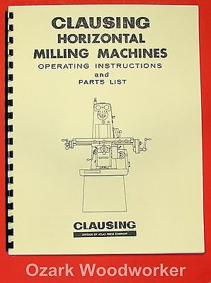 Clausing 8540854185508551 Horizontal Milling Machine Operators Manual 0154