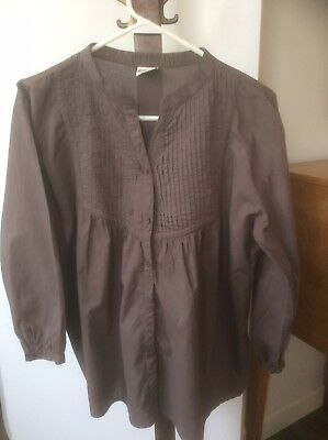 Marigold Fair Trade Clothing BROWN PINTUCKED TUNIC COTTON Button Top Size XL