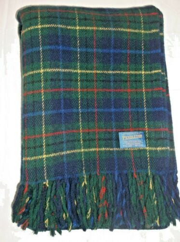 Vintage Pendleton 100% Wool Stadium Blanket Blue Plaid Fringe 51X 34 USA