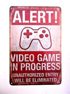 VIDEO GAMES IN PROGRESS METAL TIN SIGNS pub bar garage retro kitchen bedroom